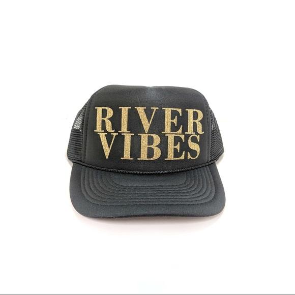 1e7c1035 thread revival Accessories | River Vibes Gold Glitter Black Trucker ...